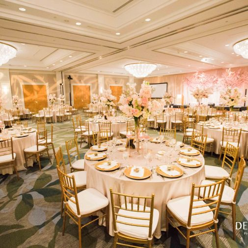 Light pink and gold theme wedding reception
