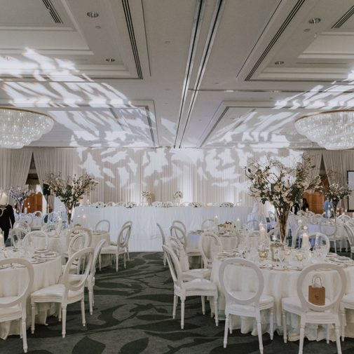 white wedding dinner reception