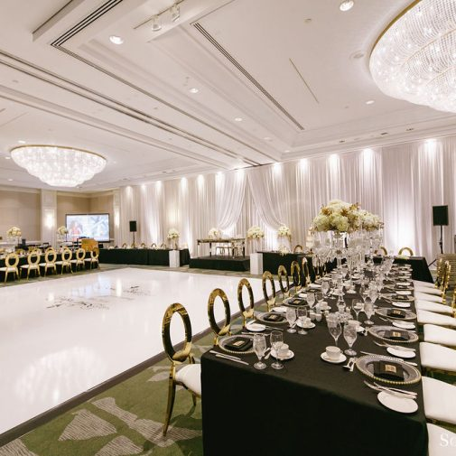 black & gold wedding reception
